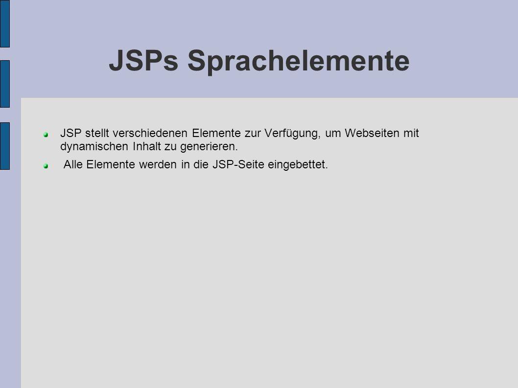JSPs Sprachelemente JSP stellt verschiedenen Elemente zur Verfügung, um Webseiten mit dynamischen Inhalt zu generieren. Alle Elemente werden in die JS