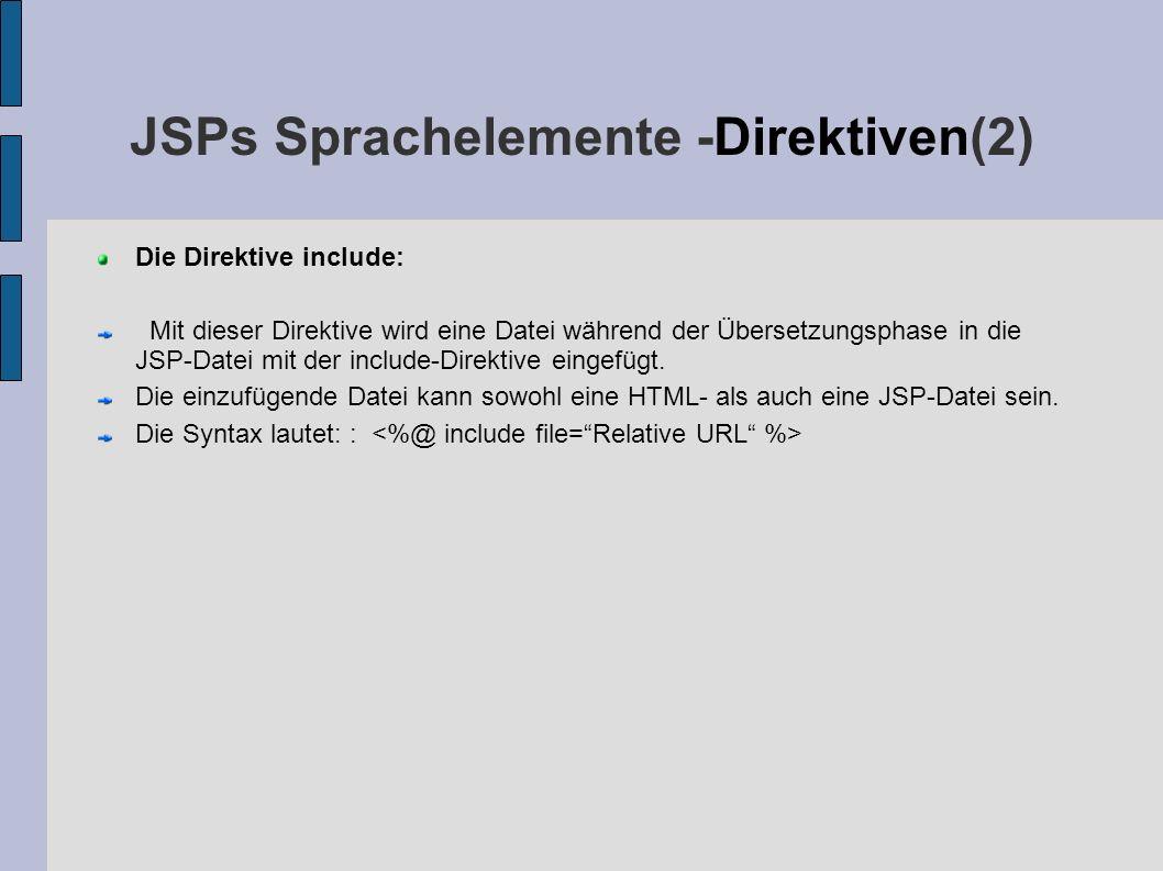 JSPs Sprachelemente -Direktiven(2) Die Direktive include: Mit dieser Direktive wird eine Datei während der Übersetzungsphase in die JSP-Datei mit der