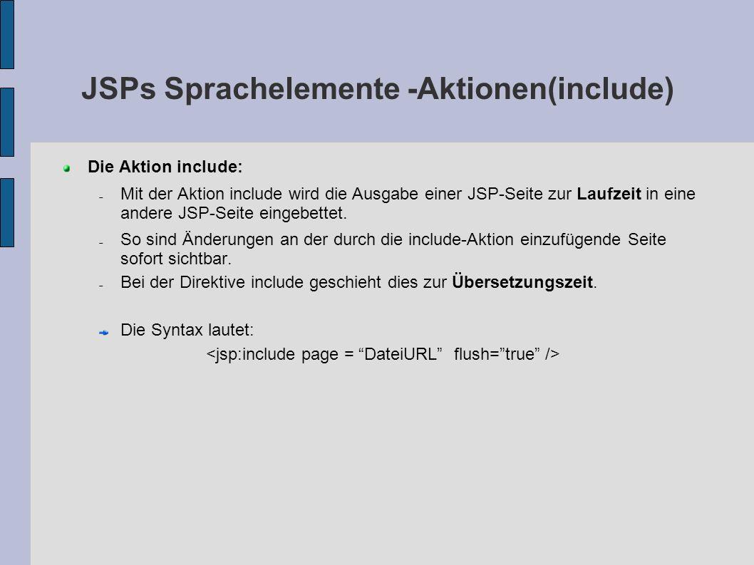 JSPs Sprachelemente -Aktionen(include) Die Aktion include: Mit der Aktion include wird die Ausgabe einer JSP-Seite zur Laufzeit in eine andere JSP-Sei