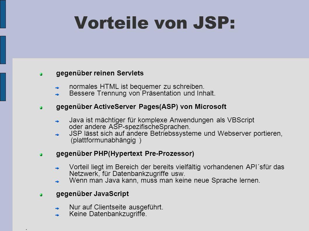 Vorteile von JSP: gegenüber reinen Servlets normales HTML ist bequemer zu schreiben. Bessere Trennung von Präsentation und Inhalt. gegenüber ActiveSer