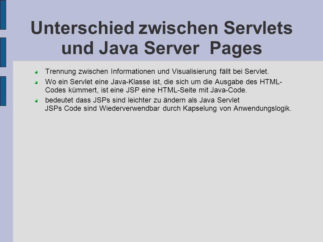 Unterschied zwischen Servlets und Java Server Pages Trennung zwischen Informationen und Visualisierung fällt bei Servlet. Wo ein Servlet eine Java-Kla