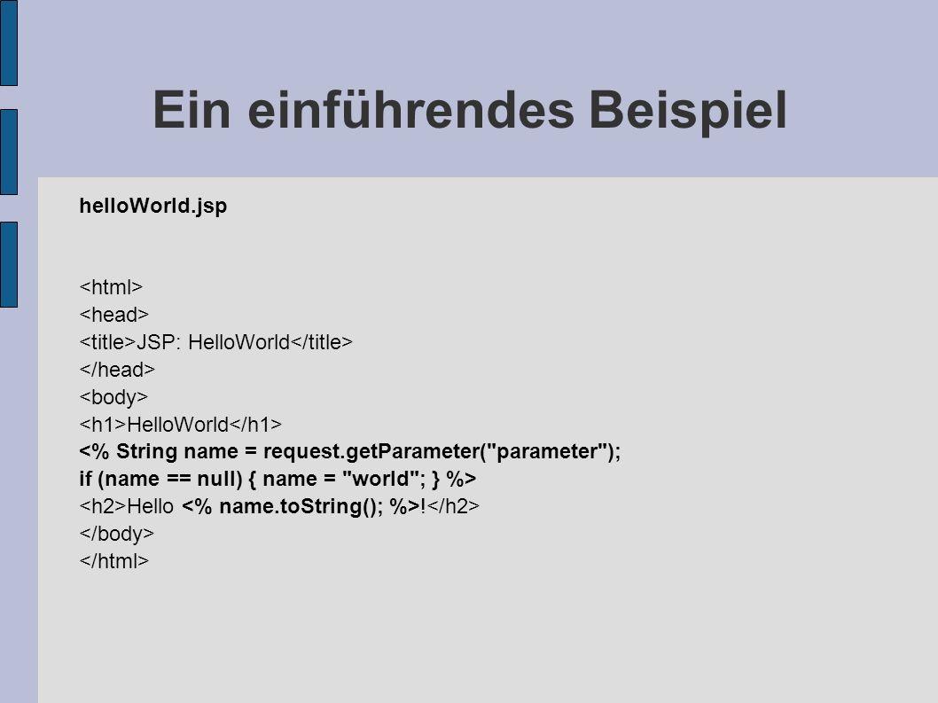 Ein einführendes Beispiel helloWorld.jsp JSP: HelloWorld HelloWorld <% String name = request.getParameter(
