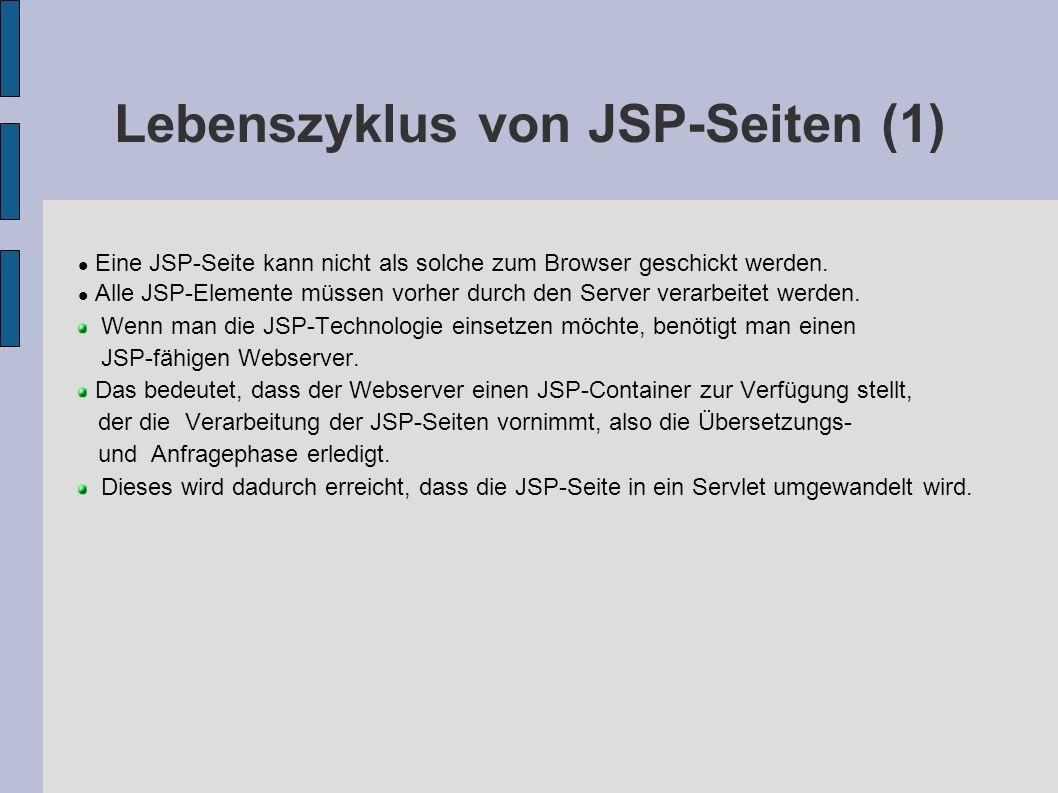 Lebenszyklus von JSP-Seite (2) JSP- Seite Generierung Quellcode des Servlet Übersetzung Ausführung HTML Servlets bei jeder Änderung der JSP-Seite bei jeder Anfrage bei jeder Änderung der JSP-Seite
