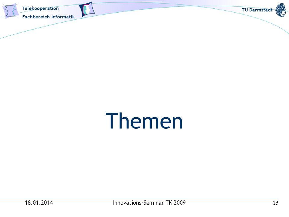 Telekooperation Fachbereich Informatik TU Darmstadt Themen 18.01.2014Innovations-Seminar TK 2009 15