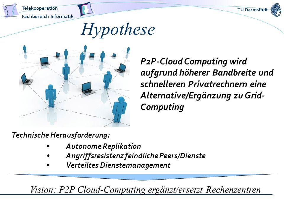 Telekooperation Fachbereich Informatik TU Darmstadt Hypothese P2P-Cloud Computing wird aufgrund höherer Bandbreite und schnelleren Privatrechnern eine
