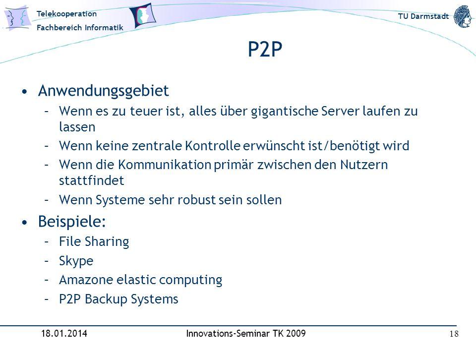 Telekooperation Fachbereich Informatik TU Darmstadt P2P Anwendungsgebiet –Wenn es zu teuer ist, alles über gigantische Server laufen zu lassen –Wenn k