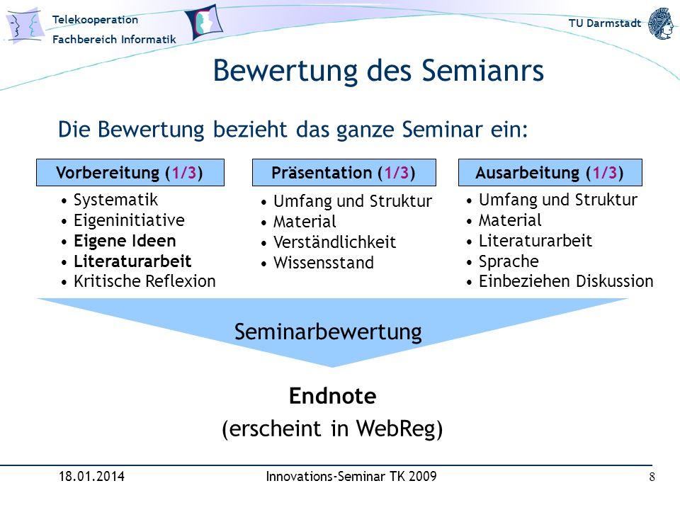Telekooperation Fachbereich Informatik TU Darmstadt Bewertung des Semianrs Die Bewertung bezieht das ganze Seminar ein: 18.01.2014Innovations-Seminar