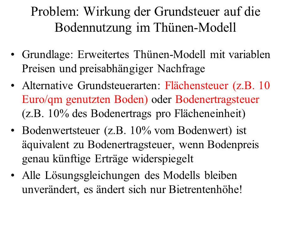 Problem: Wirkung der Grundsteuer auf die Bodennutzung im Thünen-Modell Grundlage: Erweitertes Thünen-Modell mit variablen Preisen und preisabhängiger Nachfrage Alternative Grundsteuerarten: Flächensteuer (z.B.