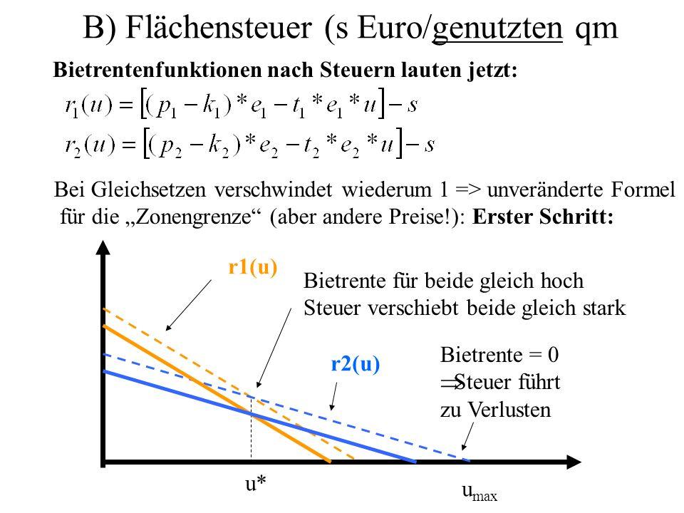 B) Flächensteuer (s Euro/genutzten qm Bietrentenfunktionen nach Steuern lauten jetzt: Bei Gleichsetzen verschwindet wiederum 1 => unveränderte Formel für die Zonengrenze (aber andere Preise!): Erster Schritt: u* u max r1(u) r2(u) Bietrente = 0 Steuer führt zu Verlusten Bietrente für beide gleich hoch Steuer verschiebt beide gleich stark