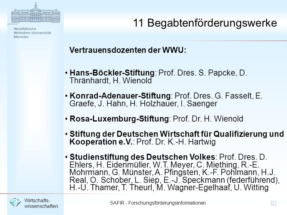 SAFIR - Forschungsförderungsinformationen Wirtschafts- wissenschaften Ü1 Vertrauensdozenten der WWU: Hans-Böckler-Stiftung: Prof. Dres. S. Papcke, D.