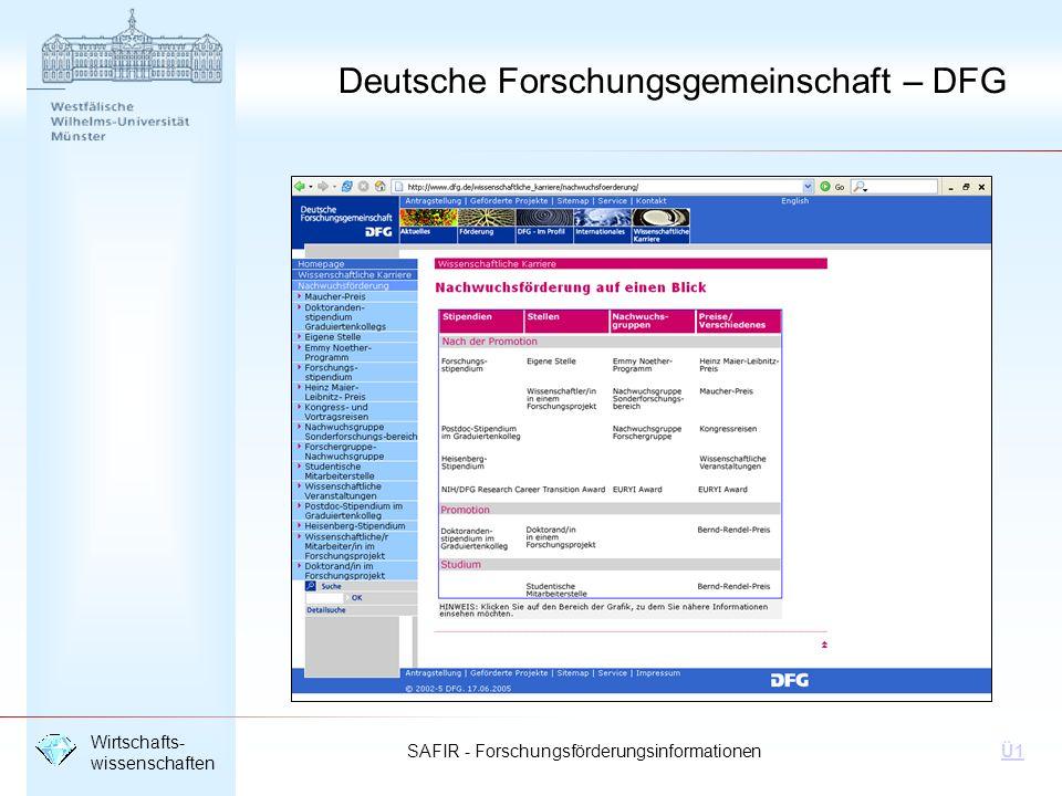 SAFIR - Forschungsförderungsinformationen Wirtschafts- wissenschaften Ü1 Deutsche Forschungsgemeinschaft – DFG