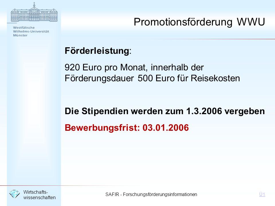 SAFIR - Forschungsförderungsinformationen Wirtschafts- wissenschaften Ü1 Förderleistung: 920 Euro pro Monat, innerhalb der Förderungsdauer 500 Euro fü