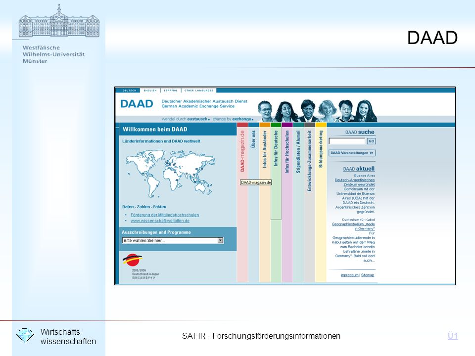 SAFIR - Forschungsförderungsinformationen Wirtschafts- wissenschaften Ü1 DAAD
