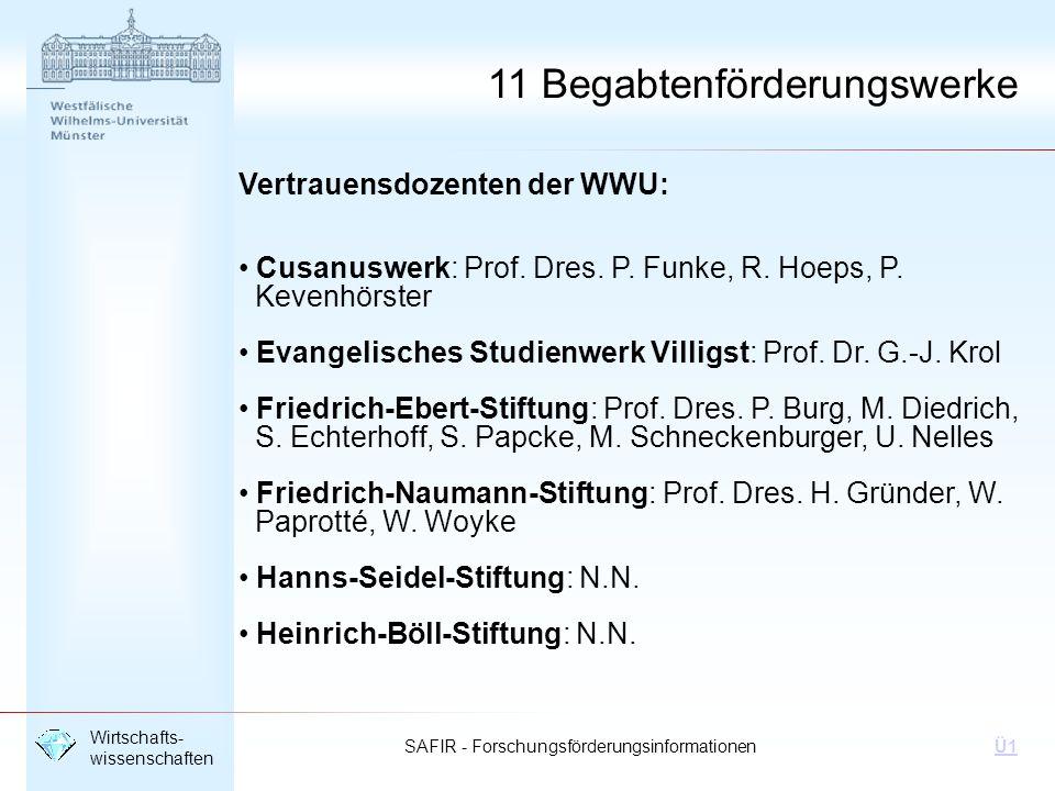 SAFIR - Forschungsförderungsinformationen Wirtschafts- wissenschaften Ü1 Fördersuchdienste Übersicht: Deutscher Akademischer Austauschdienst ELFI Stifterverband Fördernavigator Stiftungsindex Forsch und Fahr (FuF), WWU Grantsnet