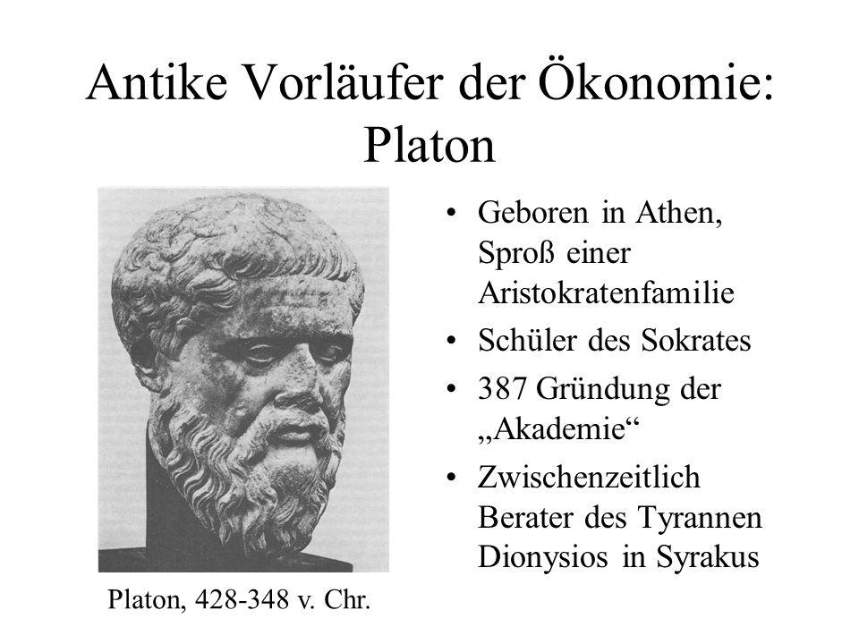 Zur Philosophie des Platon: Wirklichkeit Ideenwelt vollkommen, ewig Sinnenwelt unvollkommen, vergänglich Aufgabe des Philosophen: Ideen erkennen und lehren Höhlengleichnis: Schatten = Sinnenwelt