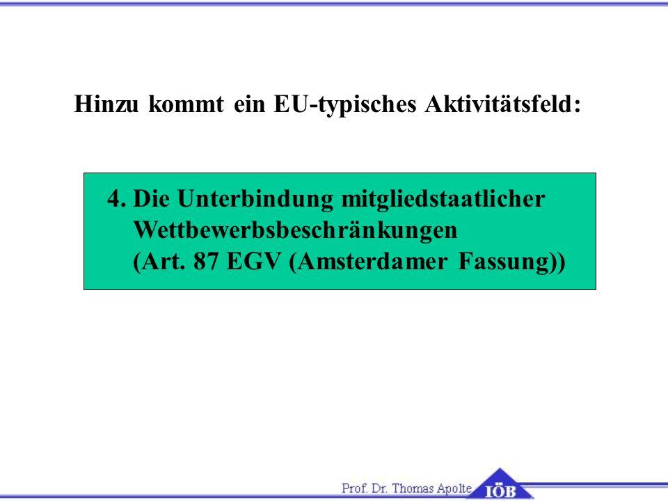 Hinzu kommt ein EU-typisches Aktivitätsfeld: 4. Die Unterbindung mitgliedstaatlicher Wettbewerbsbeschränkungen (Art. 87 EGV (Amsterdamer Fassung))