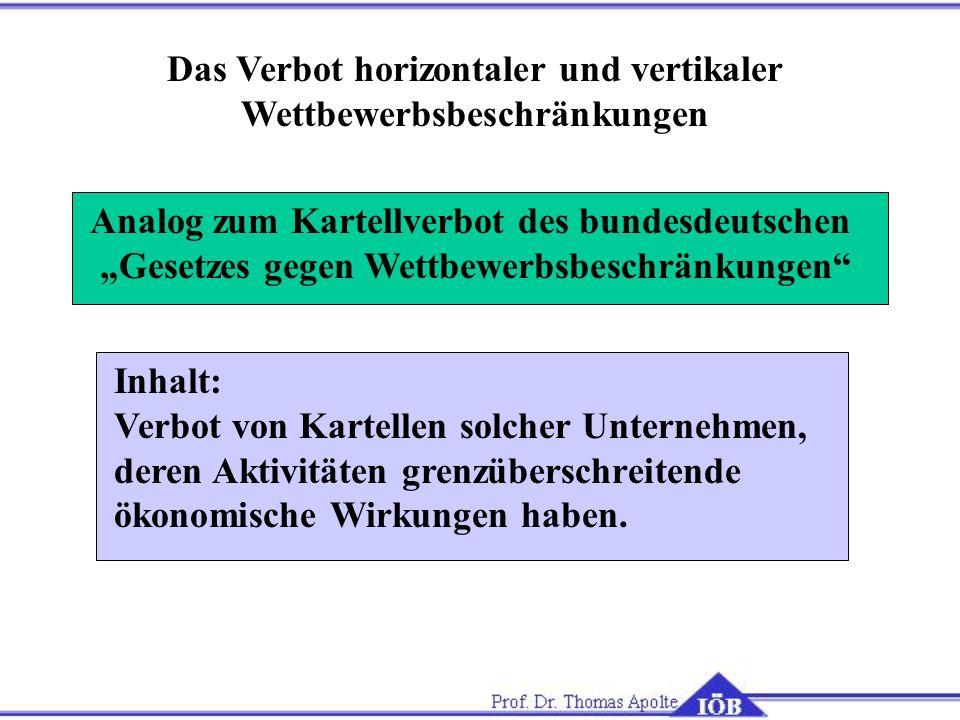 Das Verbot horizontaler und vertikaler Wettbewerbsbeschränkungen Analog zum Kartellverbot des bundesdeutschen Gesetzes gegen Wettbewerbsbeschränkungen