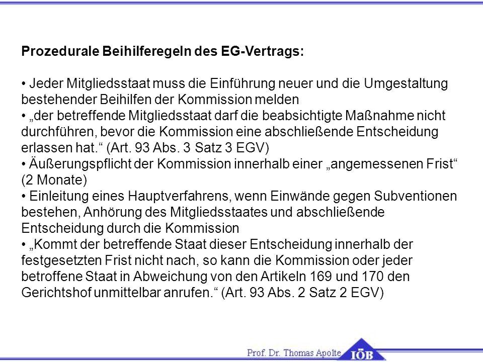 Prozedurale Beihilferegeln des EG-Vertrags: Jeder Mitgliedsstaat muss die Einführung neuer und die Umgestaltung bestehender Beihilfen der Kommission m
