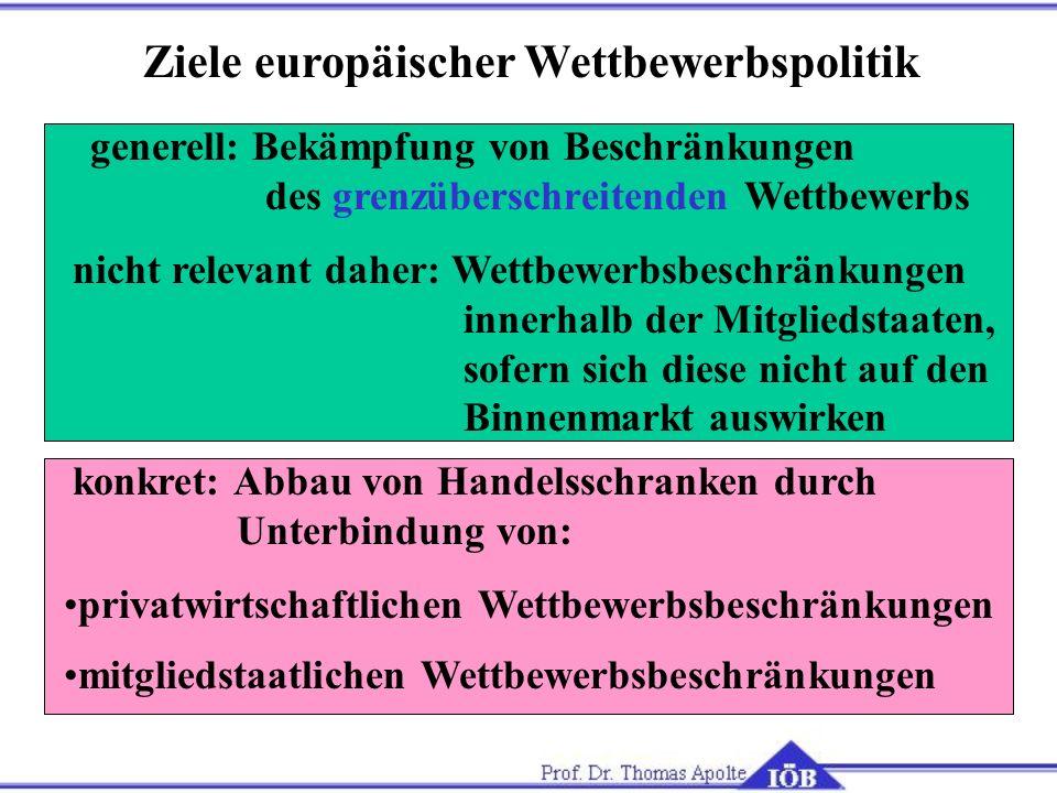 Ziele europäischer Wettbewerbspolitik generell: Bekämpfung von Beschränkungen des grenzüberschreitenden Wettbewerbs nicht relevant daher: Wettbewerbsb