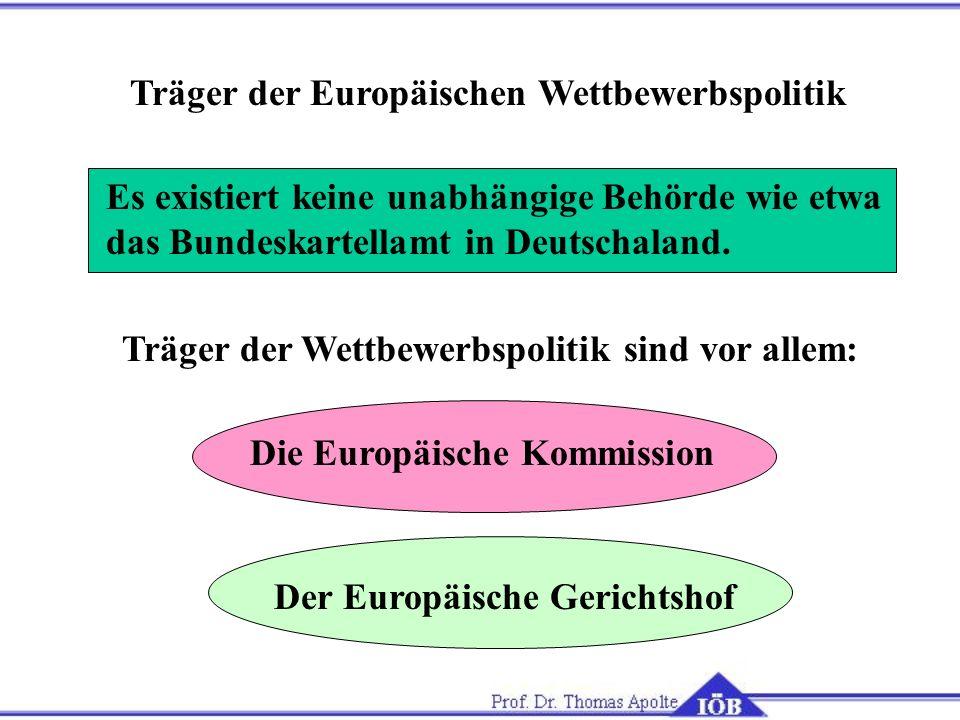 Träger der Europäischen Wettbewerbspolitik Es existiert keine unabhängige Behörde wie etwa das Bundeskartellamt in Deutschaland. Träger der Wettbewerb