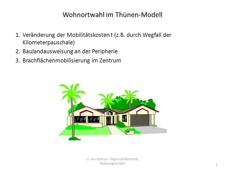 Wohnortwahl im Thünen-Modell U. van Suntum, Regionalökonomik, Wohnungsmodell 1 1.Veränderung der Mobilitätskosten t (z.B. durch Wegfall der Kilometerp