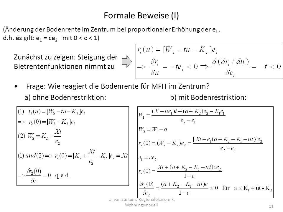 Formale Beweise (I) U. van Suntum, Regionalökonomik, Wohnungsmodell 11 (Änderung der Bodenrente im Zentrum bei proportionaler Erhöhung der e i, d.h. e