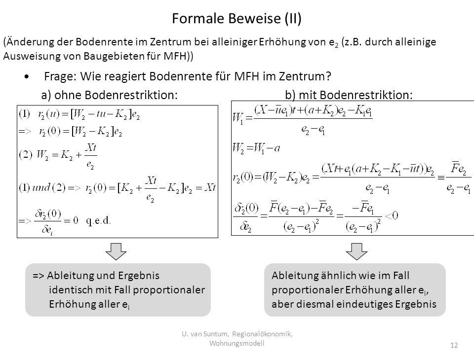Formale Beweise (II) U. van Suntum, Regionalökonomik, Wohnungsmodell 12 (Änderung der Bodenrente im Zentrum bei alleiniger Erhöhung von e 2 (z.B. durc