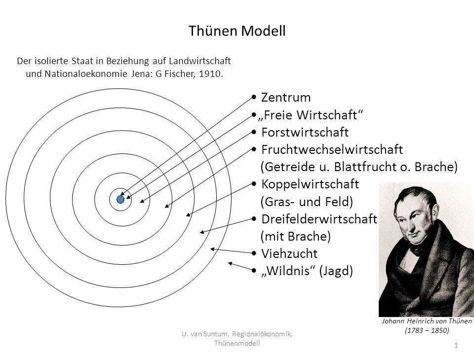 Thünen Modell U. van Suntum, Regionalökonomik, Thünenmodell 1 Zentrum Freie Wirtschaft Forstwirtschaft Fruchtwechselwirtschaft (Getreide u. Blattfruch