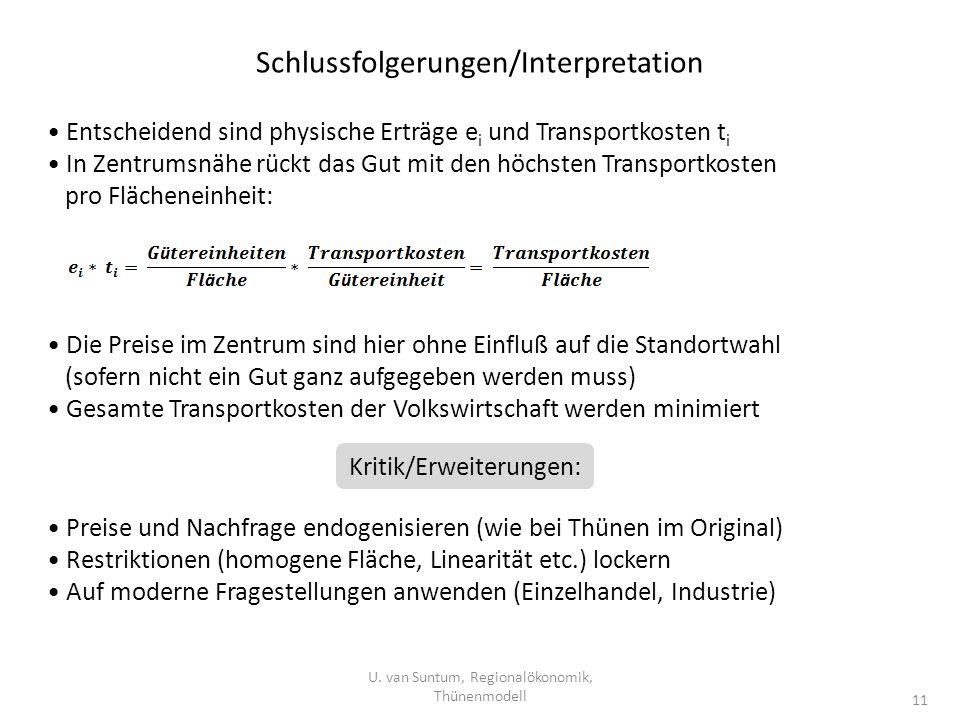 Schlussfolgerungen/Interpretation U. van Suntum, Regionalökonomik, Thünenmodell 11 Entscheidend sind physische Erträge e i und Transportkosten t i In