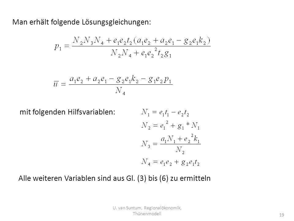 U. van Suntum, Regionalökonomik, Thünenmodell 19 Man erhält folgende Lösungsgleichungen: mit folgenden Hilfsvariablen: Alle weiteren Variablen sind au