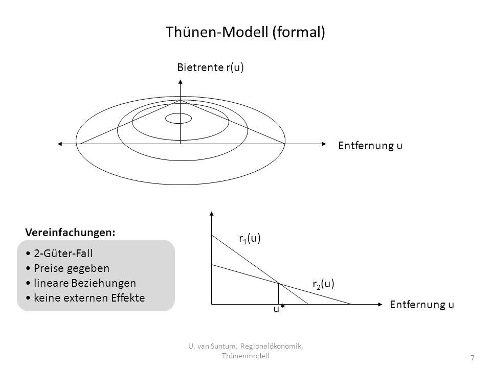 Thünen-Modell (formal) U. van Suntum, Regionalökonomik, Thünenmodell 7 Entfernung u Bietrente r(u) r 1 (u) r 2 (u) u* Entfernung u Vereinfachungen: 2-