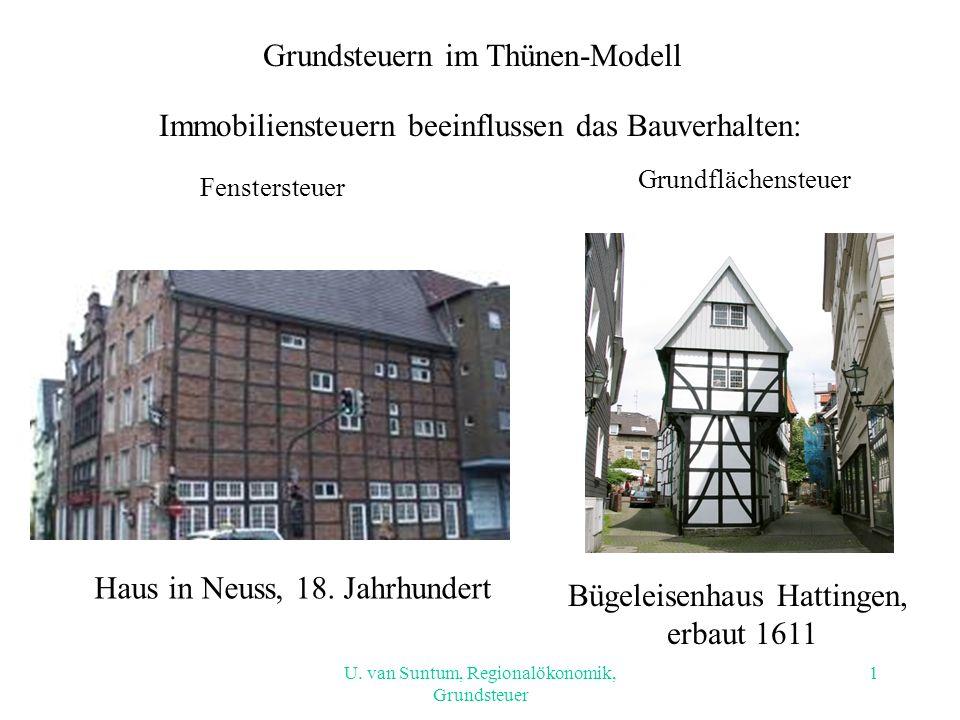 Immobiliensteuern beeinflussen das Bauverhalten: Fenstersteuer Bügeleisenhaus Hattingen, erbaut 1611 Haus in Neuss, 18. Jahrhundert Grundflächensteuer