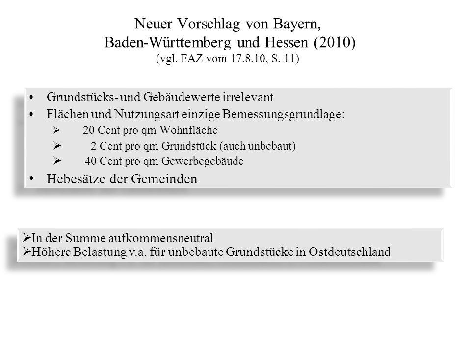 Neuer Vorschlag von Bayern, Baden-Württemberg und Hessen (2010) (vgl. FAZ vom 17.8.10, S. 11) Grundstücks- und Gebäudewerte irrelevant Flächen und Nut