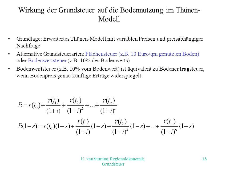 U. van Suntum, Regionalökonomik, Grundsteuer Wirkung der Grundsteuer auf die Bodennutzung im Thünen- Modell Grundlage: Erweitertes Thünen-Modell mit v