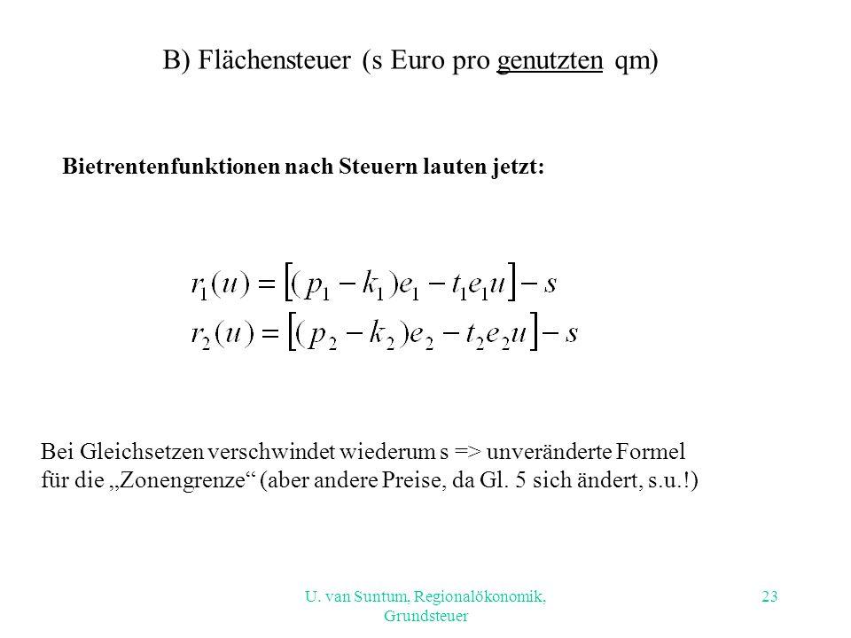 U. van Suntum, Regionalökonomik, Grundsteuer B) Flächensteuer (s Euro pro genutzten qm) Bietrentenfunktionen nach Steuern lauten jetzt: Bei Gleichsetz
