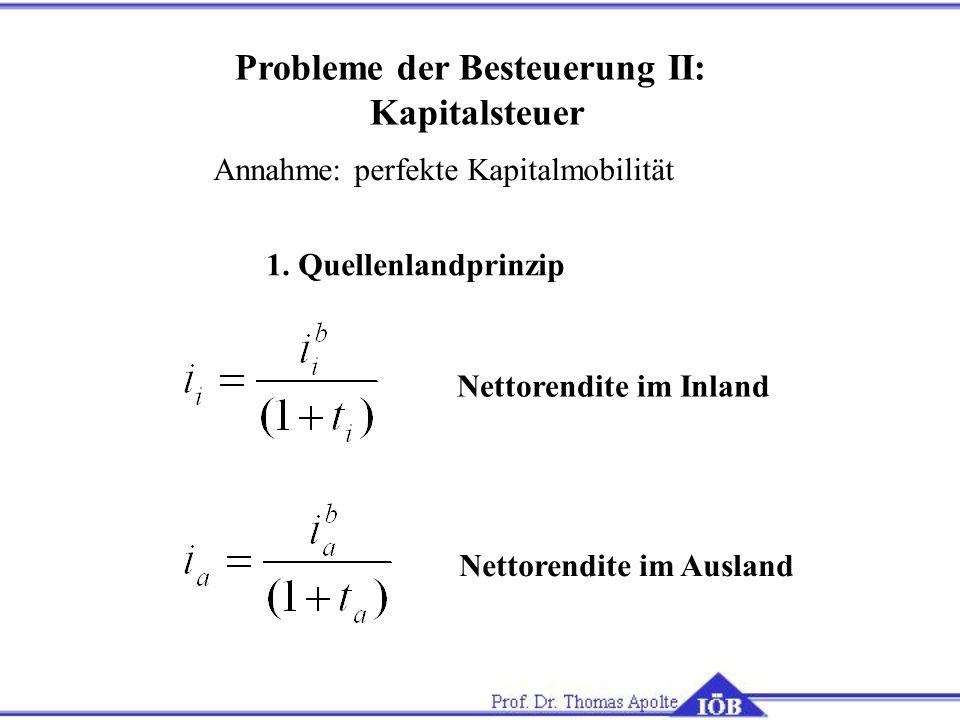 1. Quellenlandprinzip Nettorendite im Inland Nettorendite im Ausland Probleme der Besteuerung II: Kapitalsteuer Annahme: perfekte Kapitalmobilität