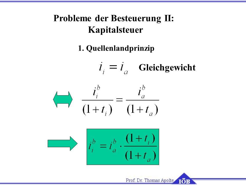 1. Quellenlandprinzip Gleichgewicht Probleme der Besteuerung II: Kapitalsteuer