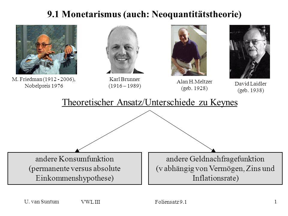U. van Suntum VWL III Foliensatz 9.1 1 9.1 Monetarismus (auch: Neoquantitätstheorie) Theoretischer Ansatz/Unterschiede zu Keynes andere Konsumfunktion