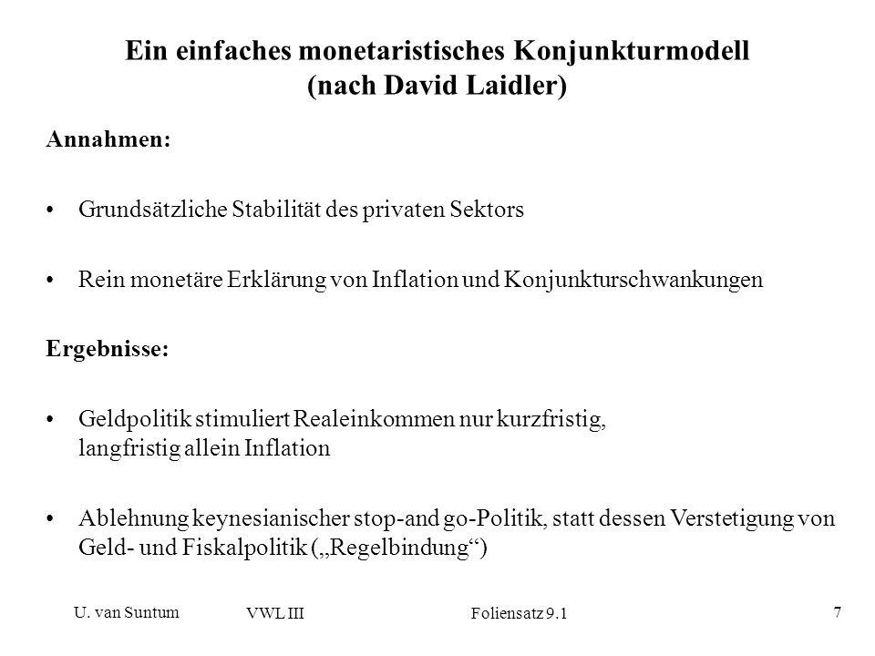 U. van Suntum VWL III Foliensatz 9.1 7 Ein einfaches monetaristisches Konjunkturmodell (nach David Laidler) Annahmen: Grundsätzliche Stabilität des pr
