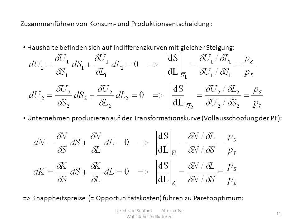 => Knappheitspreise (= Opportunitätskosten) führen zu Paretooptimum: Zusammenführen von Konsum- und Produktionsentscheidung : Haushalte befinden sich auf Indifferenzkurven mit gleicher Steigung: Unternehmen produzieren auf der Transformationskurve (Vollausschöpfung der PF): Ulrich van Suntum Alternative Wohlstandsindikatoren 11