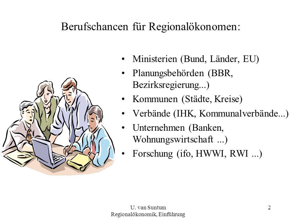 2 Berufschancen für Regionalökonomen: Ministerien (Bund, Länder, EU) Planungsbehörden (BBR, Bezirksregierung...) Kommunen (Städte, Kreise) Verbände (IHK, Kommunalverbände...) Unternehmen (Banken, Wohnungswirtschaft...) Forschung (ifo, HWWI, RWI...) U.