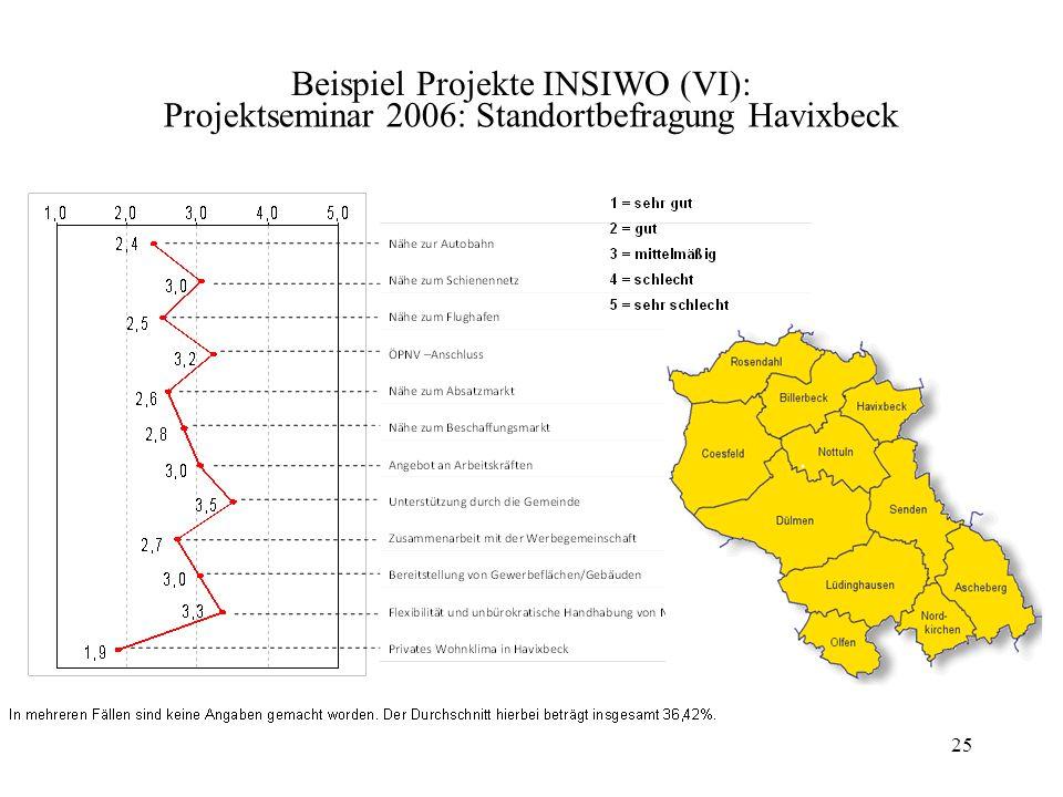 Projektseminar 2006: Standortbefragung Havixbeck 25 Beispiel Projekte INSIWO (VI):