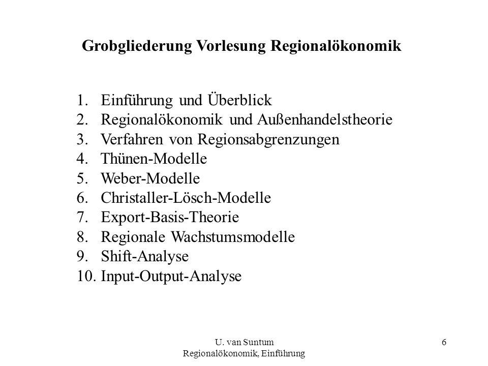 6 Grobgliederung Vorlesung Regionalökonomik 1.Einführung und Überblick 2.Regionalökonomik und Außenhandelstheorie 3.