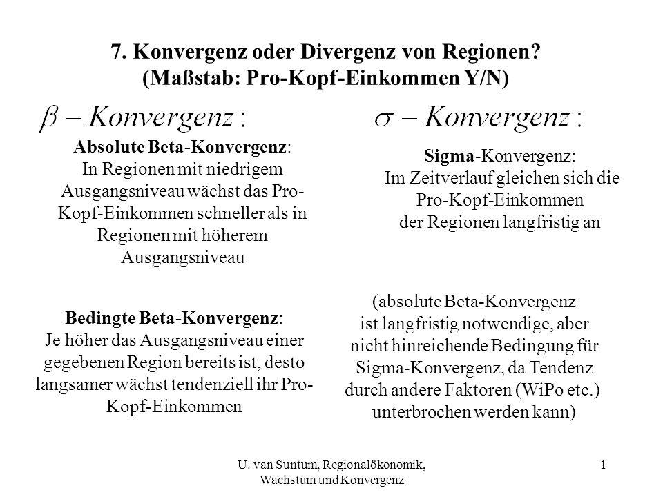 7. Konvergenz oder Divergenz von Regionen? (Maßstab: Pro-Kopf-Einkommen Y/N) Absolute Beta-Konvergenz: In Regionen mit niedrigem Ausgangsniveau wächst
