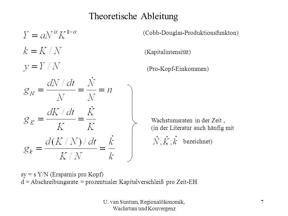 Theoretische Ableitung (Cobb-Douglas-Produktionsfunkton) (Kapitalintensität) (Pro-Kopf-Einkommen) Wachstumsraten in der Zeit, (in der Literatur auch h