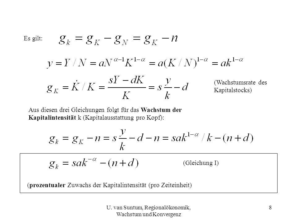 (Wachstumsrate des Kapitalstocks) Es gilt: Aus diesen drei Gleichungen folgt für das Wachstum der Kapitalintensität k (Kapitalausstattung pro Kopf): (