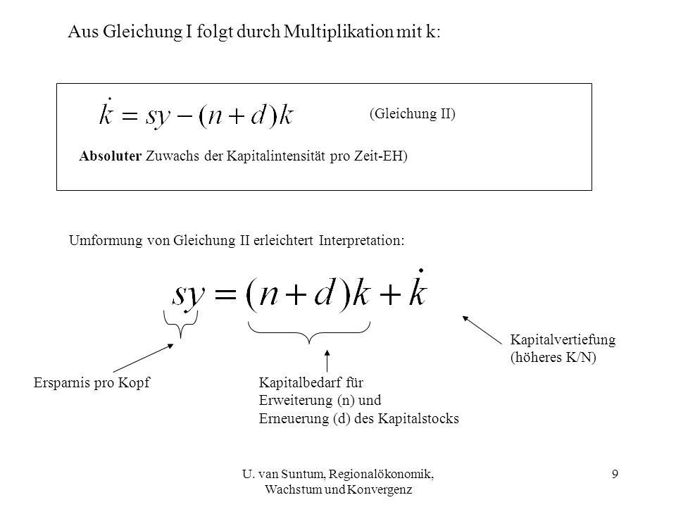 Aus Gleichung I folgt durch Multiplikation mit k: (Gleichung II) Absoluter Zuwachs der Kapitalintensität pro Zeit-EH) Umformung von Gleichung II erlei