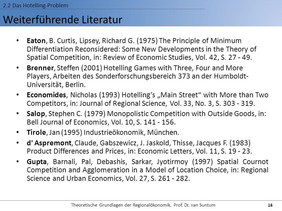 Weiterführende Literatur 2.2 Das Hotelling-Problem Eaton, B. Curtis, Lipsey, Richard G. (1975) The Principle of Minimum Differentiation Reconsidered: