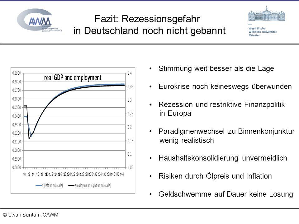 © Prof. Dr. Ulrich van Suntum 6.3.2008 18.01.2014 Fazit: Rezessionsgefahr in Deutschland noch nicht gebannt © U.van Suntum, CAWM Stimmung weit besser