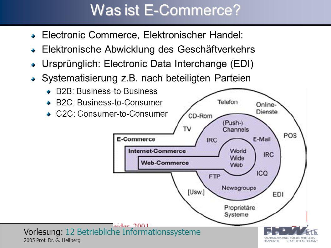 Vorlesung: 12 Betriebliche Informationssysteme 2005 Prof. Dr. G. Hellberg Was ist E-Commerce? Electronic Commerce, Elektronischer Handel: Elektronisch